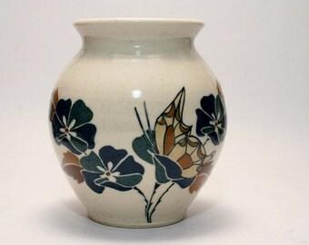 Susan Fairer Union Stoneware Scarce Butterfly Vase - Maine Production Ceramics - Studio Pottery - Vintage American Art