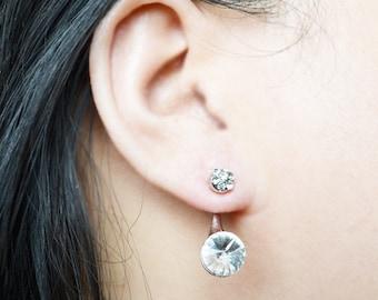 Silver Minimalist Crystal Ear Jacket Earrings