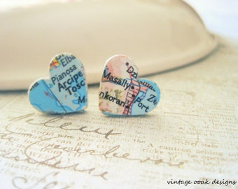 Vintage Map Paper Earrings --- Enjoy the Journey, Wanderlust, Vintage Map Heart Earrings, UPcycle Jewelry, Map Jewelry, OriginalOOAK Design