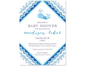 Baby Whale Shower Invitations, Baby Shower Invites, Nautical Theme, Lake, Ocean, Sea, Baby Boy