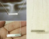 ON SALE Sterling Silver Bar Necklace - Personalized Silver Bar Necklace - Name Plate Necklace - Initials Necklace - Dainty Shimmering Silver