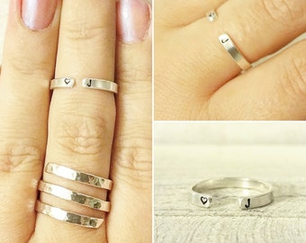 Silver Open Cuff Ring - Intials Cuff Ring - Personalized Sterling Silver Ring - Thin Sterling Silver Stacking Ring