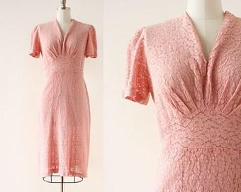 1930s 1940s  Dress / 1940s Lace Dress / Pink Lace Dress / Lace Day Dress / 1930s Dress / Medium Large / 44 Bust 34 Waist 36 Waist / XL
