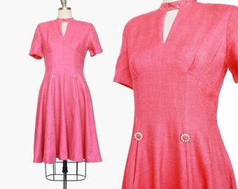 Rhinestone Choker 1960s Dress / Mod 1960s Dress / Pink Dress / Pink 1960s Mod Dress / Pockets / Cutout Dress / Medium / 28 Waist