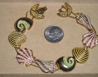 Vintage Sea Shell Slide Bracelet 1970's Beach Jewelry 2144