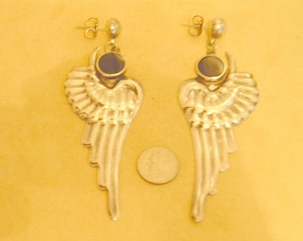 Vintage Signed Mexico large Sterling Silver Wing Earrings Pierced With Bezel Set Black Onyx Cabochon 1960's Jewelry 6042