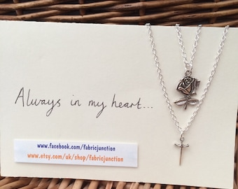One Direction 1D inspired rose and dagger friendship necklaces Larry Stylinson fandom Always In My Heart (Harry Styles and Louis Tomlinson)