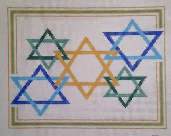 Judaic Designs by Tonya Handpainted Needlepoint Canvas-Stars of David