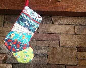Christmas Stocking Holiday Stocking OOAK Patchwork Stocking Patchwork Christmas Holiday Quilted Stocking
