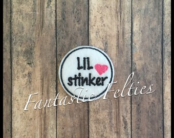 Lil Little Stinker Skunk Feltie | Felt applique | Embroidered Felt | UNCUT