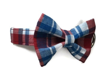 Patriotic Plaid Bow Tie Dog Collar size Extra Small