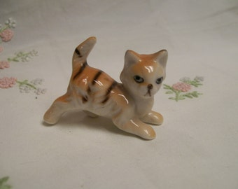 "Tabby Cat Figurine, Vintage. Tiny 2"" Kitty Cat, Sweet Orange Cat, Prancing, Pouncing, Kitty, Cat, Kitten,  Figure Circa 1960s"