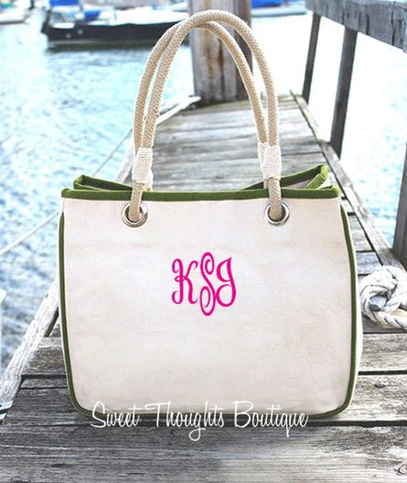 Monogrammed Canvas Rope Tote- Canvas Tote Bag- Personalized Canvas Rope Tote Bag- Bridesmaid Tote Bag- Gift for Her- Many Colors Available