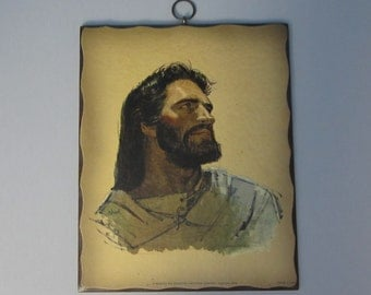Classic Portrait of Jesus on Plaque, Christ Head Picture, Signed M. Hook, Printed in U.S.A. 1962 Mid Century