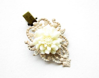 Haarclip,hairclip,Haar-Accessoire,Hair Accessories, Shabby Chic, Romantic,Braut,bride,capuccino,cream,creme