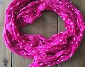 Purple polka dot scarf