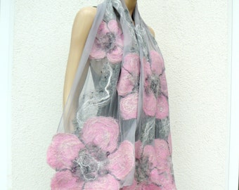 Nuno felted shawl - large flowers scarf - wool and silk -  gray and pink felt shawl
