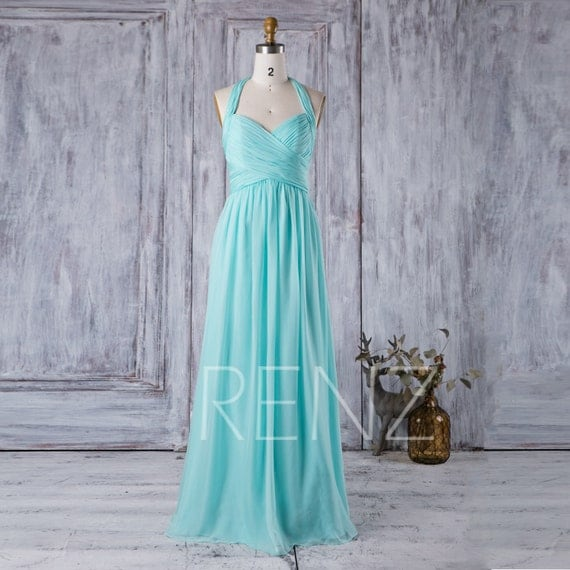 Teal Wedding Gown: 2017 Light Teal Bridesmaid Dress Long Halter Wedding Dress