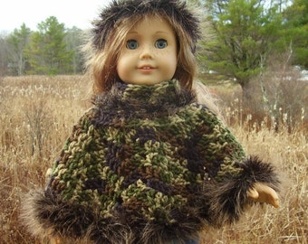"18 Inch Doll Clothes, Camo Poncho and Hat, Hand Crocheted Camouflage Poncho and Hat with ""Fur"",  Fits American Girl or Other 18 Inch Dolls"