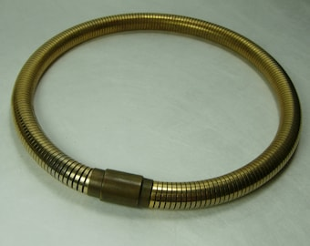 1930s Art Deco Tubogaz Gas Pipe Choker Necklace Machine Age Snake Chain