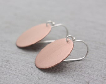 Copper Circle Dangle Earrings Large, Round Copper Earrings, Circle Earrings, Copper Dangly Earrings, Circle Copper Earrings : CciDlP