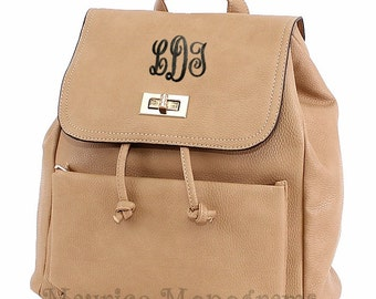 Monogrammed Faux Leather Khaki Backpack Purse  with 3 Initials Included