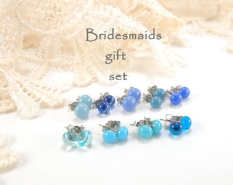 Light blue bridesmaids studs gift pack (3, 4, 5, 6, or 7), small ball stud earrings, choose color and amount, bridesmaids' jewelry, wedding