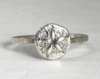 sterling silver sand dollar ring, nautical, beach, women, sand dollar ring, sea, water, silver ring, shell, eco friendly, bridesmaids, bride