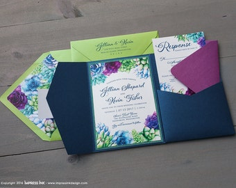 Succulents Botanical Wedding Invitation Sample | Flat or Pocket Fold Style