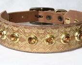 "Gold Leather Greyhound Collar, Egyptian Dog Collar, Leather Sighthound Collar, Sizes 12 - 16"" inches or custom"