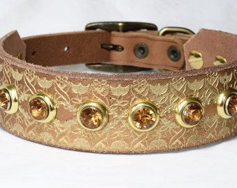 "Gold Leather Greyhound Collar, Egyptian Dog Collar, Leather Sighthound Collar, Sizes 12 - 16"" inches or custom"