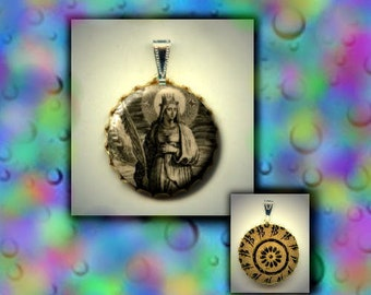 St Leocadia Patron Saint of Toledo virgin martyr flat button CABOCHON in Brass Charm / Pendant