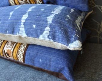 Denim and linen pillow case, tie dye pillowcase, boho home decor, lumbar pillow cover, 25x15 inch cover, vintage denim pillow (#2)