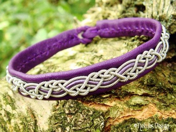 Tjekijas Sami Bracelet HUGINN Swedish Lapland Viking Bracelet in Purple Leather with Pewter Braid and Antler Button - Custom Handmade