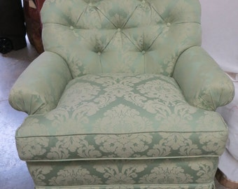 Mint Damask Tufted Back Chair - Totally Refurbished