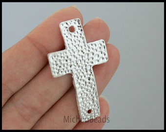 5 SILVER Sideways curved CROSS Connector Link - Large 47x27mm Textured Hammered Cross Link Metal Charm - Instant Ship from USa - 6384