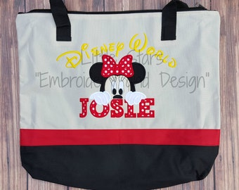 Peeking Mickey or Minnie Tote Bags - Appliqued and Personalized - 4 to 7 Letter Only