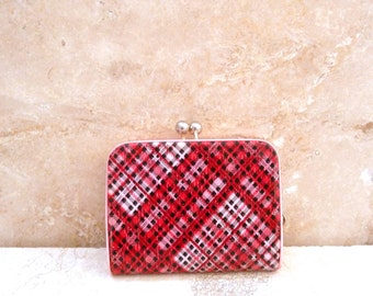 Vintage Red Plaid Plastic and Metal 1970's Coin Purse