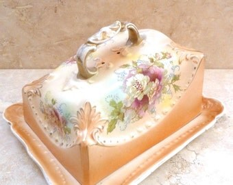 Vintage Antique Ceramic 1930s Hand Painted Lidded Butter Dish Cheese Plate
