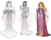Aurora, Sleeping Beauty, Princess Mucha Style CROSS STITCH PATTERN Original Art by Hannah Alexander