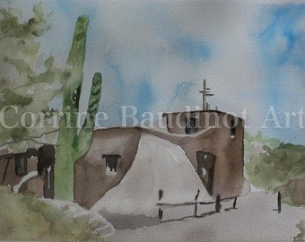 Mission church watercolor painting adobe cactus art