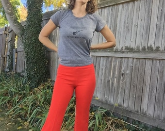 Red Kickflare High Waist Pants - Small