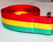 "Rasta Belt D Ring 1.25"" Wide Red, Yellow and Green Belt"