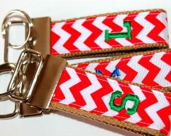 Preppy Chevron Key Chain Red and Khaki Key Fob