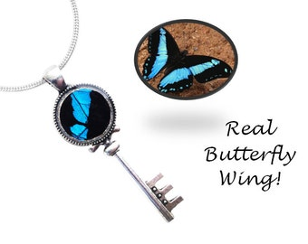 Real Butterfly Wing Skeleton Key Necklace Pendant - Blue, Colorful, Gift, Unique, Birthday, Anniversary, Present, Taxidermy, Insects, Bugs