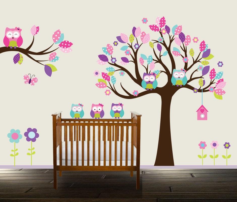 eule wandtattoo floral kinderzimmer aufkleber m dchen. Black Bedroom Furniture Sets. Home Design Ideas