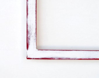 11x14 white frame - distressed white and red picture frame,