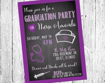 Graduation Invitations - High School Graduation - Party Invitations - Nursing School Graduation