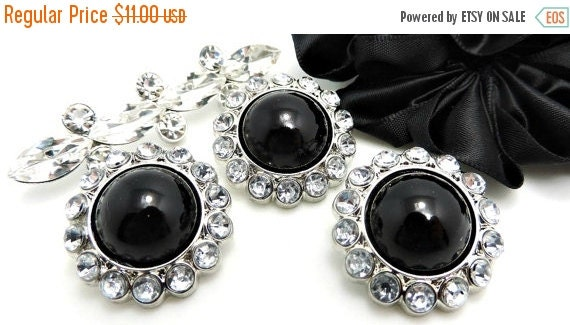 ON SALE 10 Rhinestone Pearl Buttons Black Pearl Buttons With Brilliant Clear Surrounding Rhinestones 26MM-3185-25P.