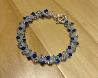 Bead Woven Swarovski Crystal Bracelet Blue and White